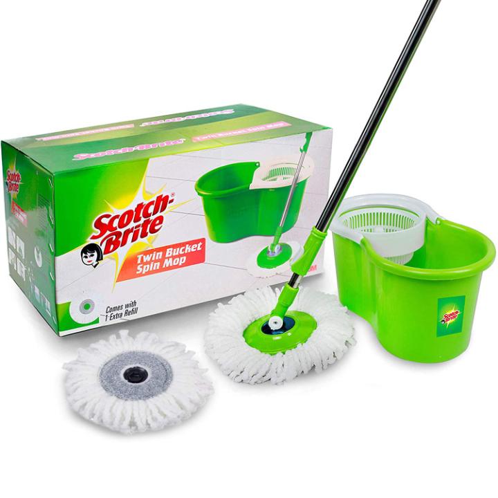 Scotch-Brite 2-in-1 Bucket Spin Mop (Green, 2 Refills)