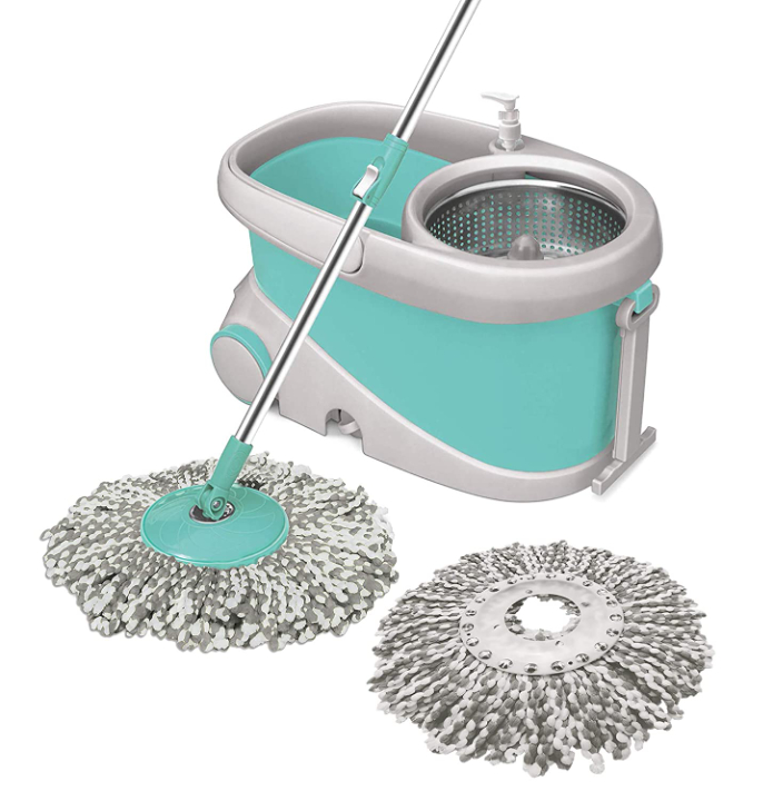 Spotzero by Milton Prime Spin Mop with Big Wheels and Stainless Steel Wringer, Bucket Floor Cleaning and Mopping System,2 Microfiber Refills,Aqua Green