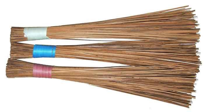Harit - The Plant Shop Coconut Fiber Broomstick for Wet Floor, Garden, Outdoor Cleaning Brooms Pack of 3