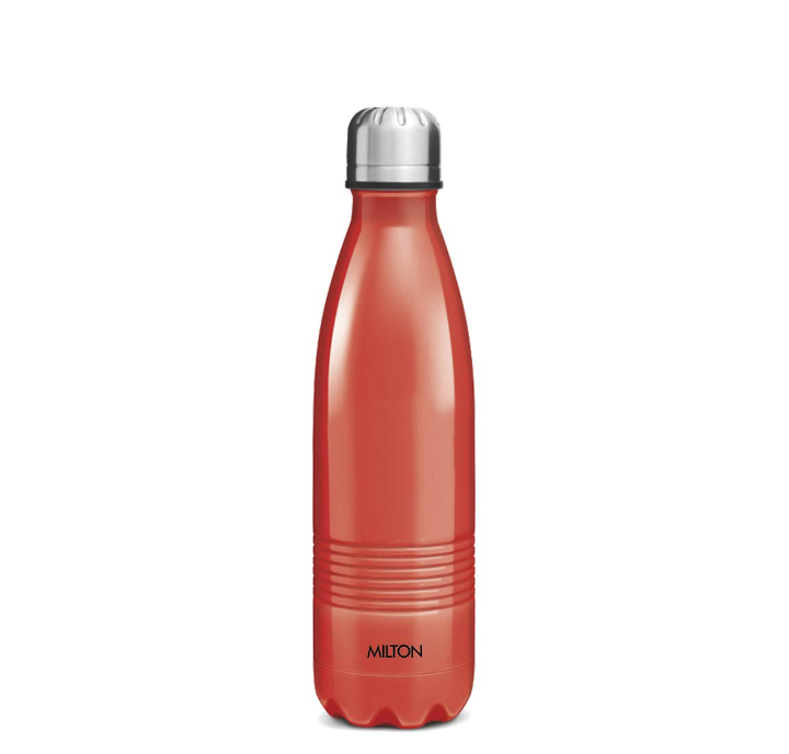 Milton Duo DLX 350 Thermosteel 24 Hours Hot and Cold Water Bottle, 350 ml, Red