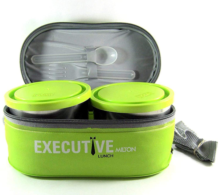 Milton Sth Executive Plastic Lunch Box With 3 Leakproof Containers, Green