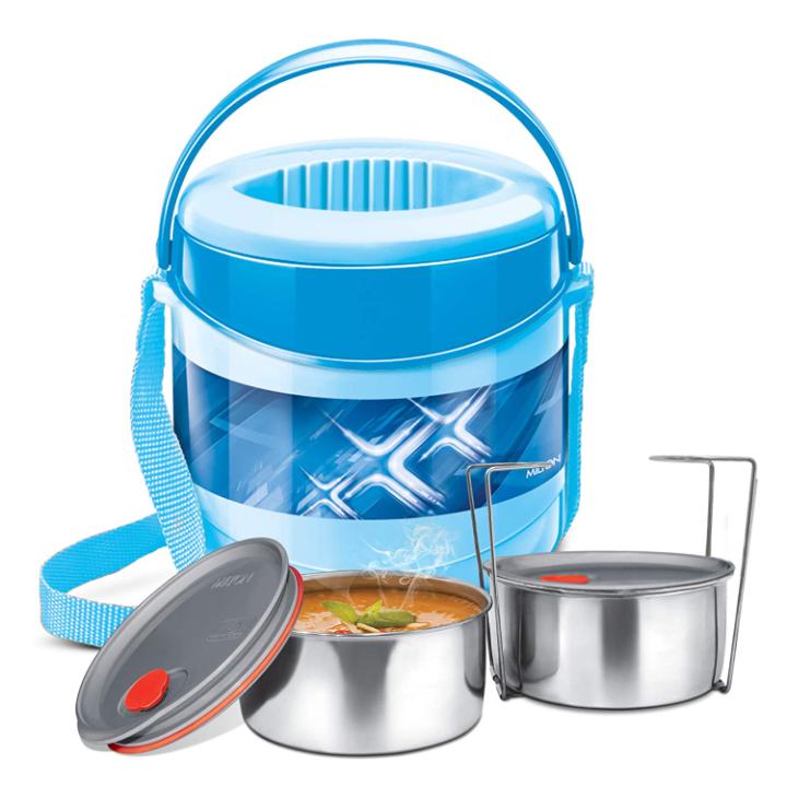 Milton Plastic Stainless Steel Econa Deluxe 2 Tiffin Box Set, 200 Ml /150 Mm, (2 Containers), Blue