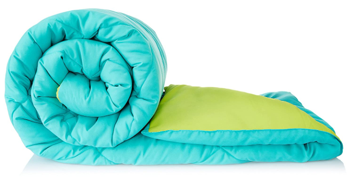 Amazon Brand - Solimo Microfibre Single Comforter, Aqua Blue and Olive Green, Pack of 1