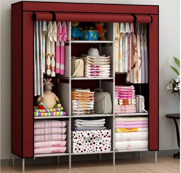Maison & Cuisine® 6+2 Layer Fancy and Portable Foldable Collapsible Closet/Cabinet (Need to Be Assembled) (88130) (Wine Red) 144.5x42.5x166 cm