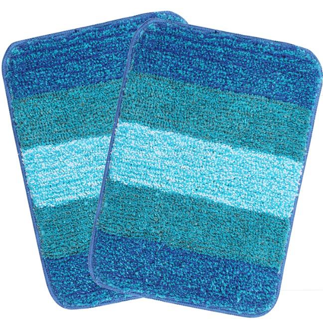 SARAL HOME EASY LIVING Striped Anti-Skid Bath Mat (Turquoise, Microfiber, 35X50 CM)