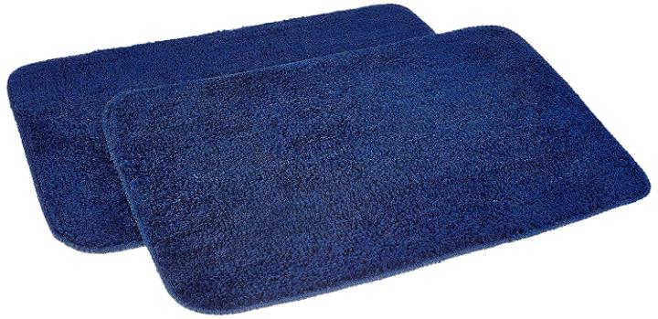 Amazon Brand - Solimo Anti-Slip Microfibre Bathmat, 40cm x 60cm - Pack of 2 (Blue)