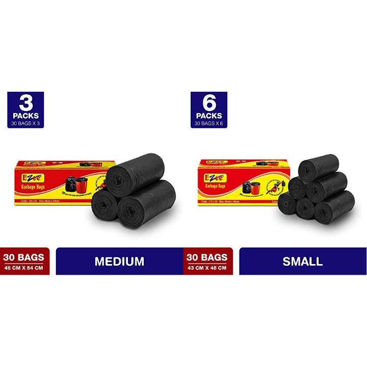 Ezee Garbage Bag - 19x21 inches (Pack of 3, 90 Pieces, Small) & Ezee Garbage Bags - 43x48 cm (6 Rolls, 180 Bags, Small)