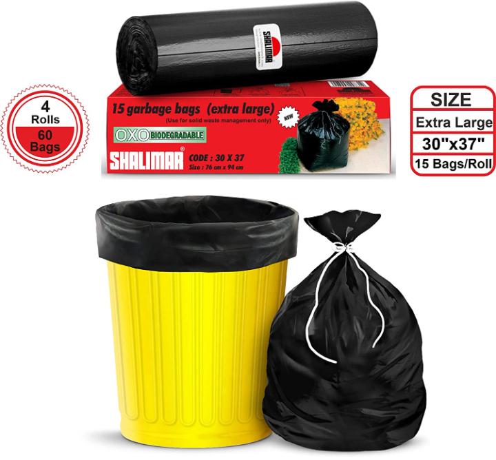 Shalimar Premium OXO - Biodegradable Garbage Bags (Extra Large) Size 76 cm x 94 cm 4 Rolls (60 Bags) (Dustbin Bag/Trash Bag) (Black Colour)