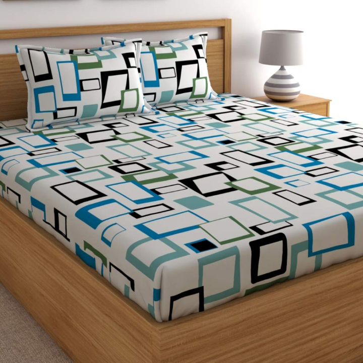 Home Ecstasy 100% Cotton Double bedsheets with 2 Pillow Covers Cotton, 140tc Geometric Blue bedsheets for Double Bed Cotton (7.15ft x 7.64ft)
