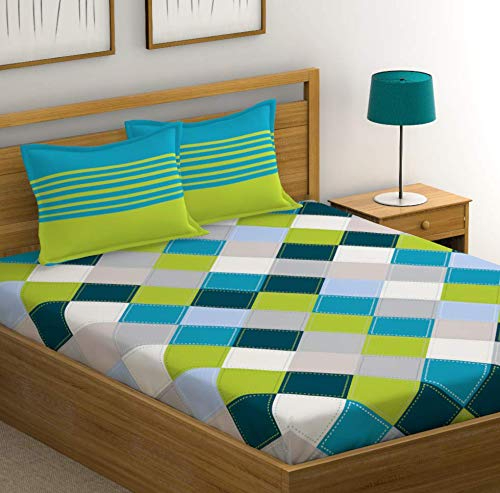 HUESLAND by Ahmedabad Cotton 144 TC 100% Cotton Double Checkered Bedsheet with 2 Pillow Covers - Blue, Green, Grey