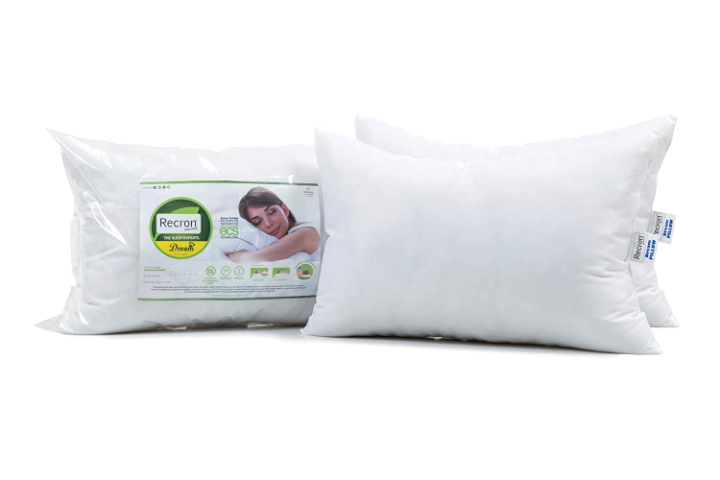 Recron Certified Microfiber Pillow, 17 x 27 Inch, White, Pack Of 2