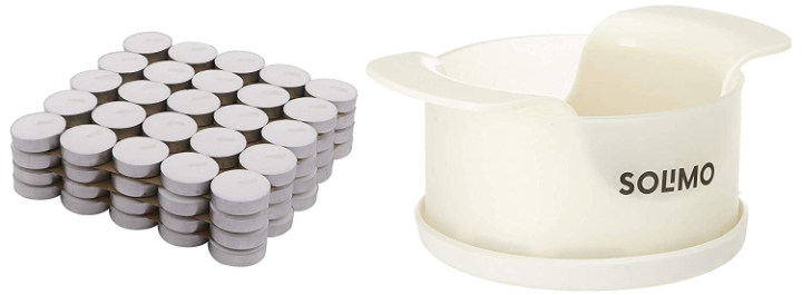 Amazon Brand - Solimo Wax Tealight Candles (Set of 100, Unscented) & Apple Slicer with Storage Cup Combo