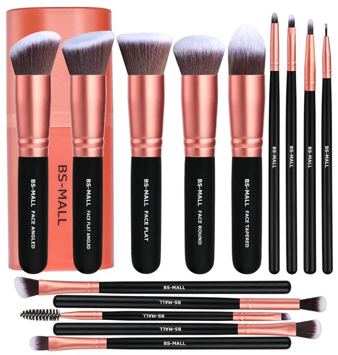 BS-MALL Premium 14 Piece Powder Foundation Concealer Blush Eye Shadow Makeup Brush Set (Rose Gold)