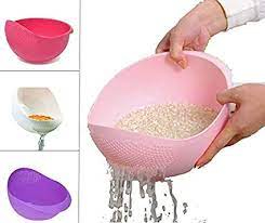 PRAMUKH Fashion ABS Plastic 11 Inch Multi Color Rice Pulses Fruits Vegetable Noodles Pasta Washing Bowl & Strainer Good Quality & Perfect Size for Storing and Straining. Colander Random Colors