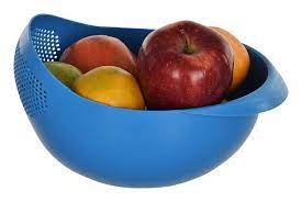 Cutting EDGE Strainer Colander, Fruit Basket, Pasta Strainer, Vegetable Strainer, Kitchen Sieve, Washing Bowl, Unbreakable, 1 x Small (Blue)