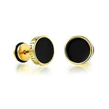 YELLOW CHIMES Black Stud Earrings for Boys and Men
