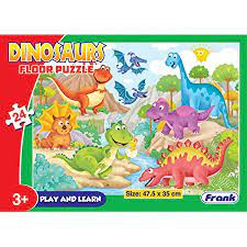 Frank 24 Pieces Floor Puzzle for 3 Year Old Kids and Above (Dinosaurs)