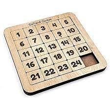 Galliard Games Number Slide Fifteen Puzzle, Non-Interlocked Pieces (5x5)