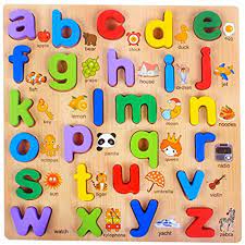 WISHKEY 3D Wooden Capitabl Alphabets Early Learnning Educational A to Z Letters Puzzle Board for Montessori Kids (Pack of 1, Multicolor)