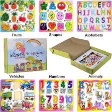 WISHKEY Wooden Educational Colorful Fruits, Numbers, Geometric Shapes, Animals, Vehicles, Alphabet Puzzle Board for Preschool Toddler Kids 3 Years & Above (Pack of 6, Multicolor)