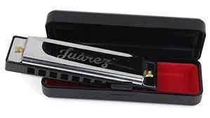 Juarez JRZ10HM Key C Diatonic Blues Harmonica 10 Hole 20 Tones with Case, Mouth Organ for Beginners, Students, Kids & Professionals, Silver