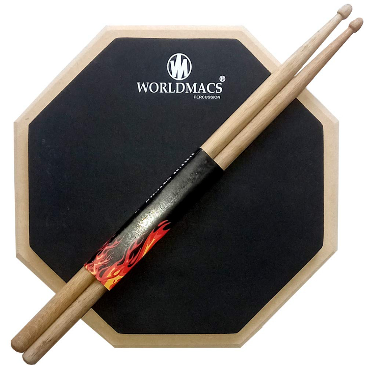 worldmacs 12'' Inches 2 Sided Drum Practice Pad